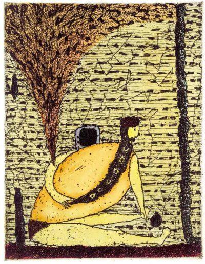 02000 Eugeniusz Józefowski, Hindus z telewizorem, 15,5 x 12 cm, intaglio