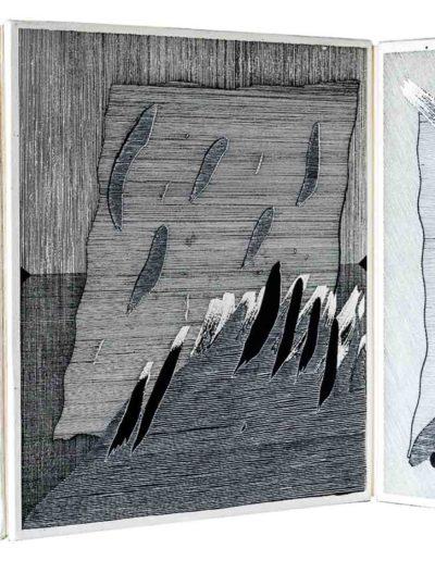 1979 Eugeniusz Józefowski, Cztery chusteczki, książka harmonijkowa z rysunkami tuszem naklejonymi na płytę pilśniową, format 29 x 28,5 x 3 cm 01