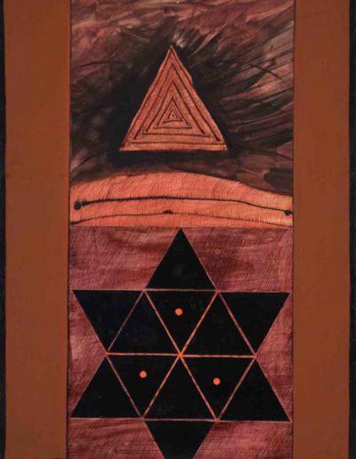 1979 Eugeniusz Józefowski , Gwiaździste trójkaty, akryl i olej na płótnie, 30 x 40 cm