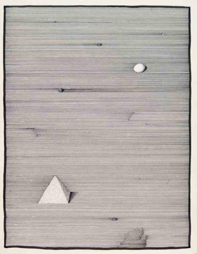 1979 Eugeniusz Józefowski, Jajo i piramidarysunek tuszem, 40 x 50 cm