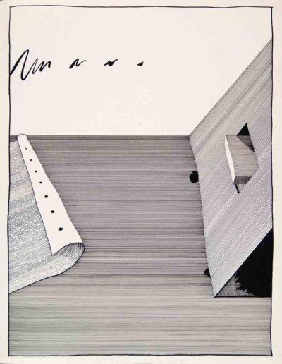 1979 Eugeniusz Józefowski, Posłuchaj jak gra liść papieru, rysunek tuszem, 40 x 50 cm