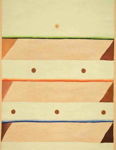 1979 Eugeniusz Józefowski, Trójkątna tajemnica, technika mieszana na płycie pilśniowej, 50 x 70 cm