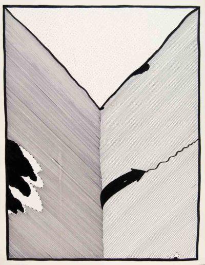 1979 Eugeniusz Józefowski,Czas monumentalny, rysunek tuszem, 40 x 50 cm