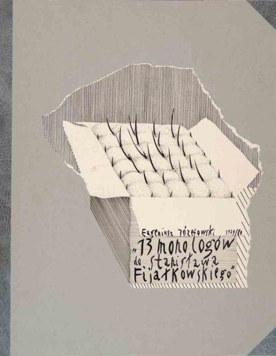 1979_80 Eugeniusz Józefowski, Okładka książki teki rysunkowej, rysunek tuszem, 40 x 50 cm