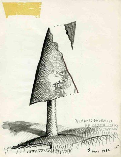 1979_82 Eugeniusz Józefowski, Szkicownik lubelski,rysuneki ołówkiem i tuszem kartkach z zeszytu, 14,5 cm x 21 cm, 02