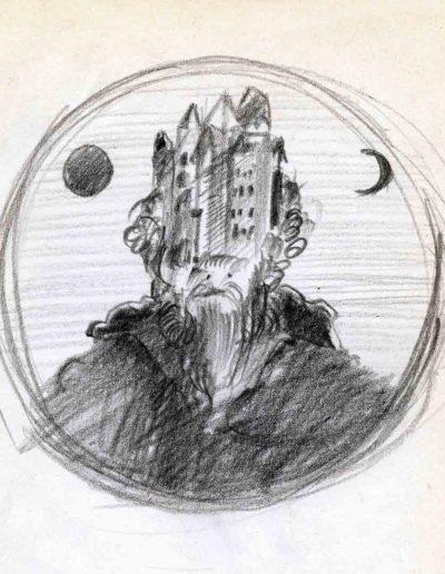 1979_82 Eugeniusz Józefowski, Szkicownik lubelski,rysuneki ołówkiem i tuszem kartkach z zeszytu, 14,5 cm x 21 cm, 20 (1)