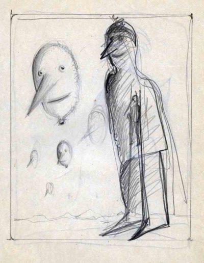 1979_82 Eugeniusz Józefowski, Szkicownik lubelski,rysuneki ołówkiem i tuszem kartkach z zeszytu, 14,5 cm x 21 cm, 45