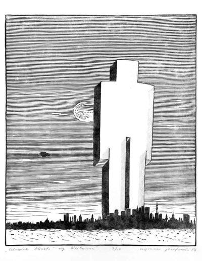 1981 Eugeniusz Józefowski, Człowiek miasto według Whitmana, z cyklu IIustracje do nienapisanych książek, linoryt na bibule, 50 x 70 cm, 2