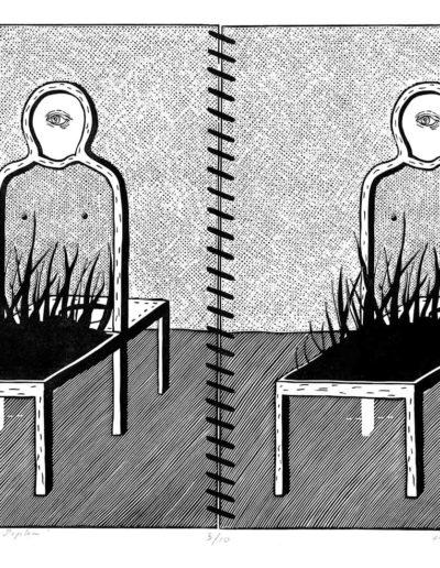 1981 Eugeniusz Józefowski, Krzesło według Jana Popka, z cyklu IIustracje do nienapisanych książek, linoryt na bibule, 50 x 70 cm, 26