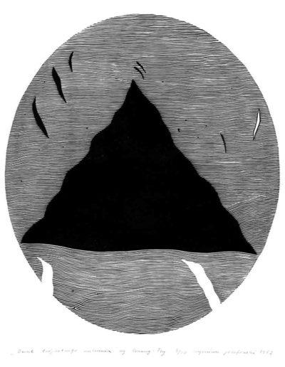 1981 Eugeniusz Józefowski, Owal trójkątnego milczenia według Czuang Tsy, z cyklu IIustracje do nienapisanych książek, linoryt na bibule, 50 x 70 cm, 27