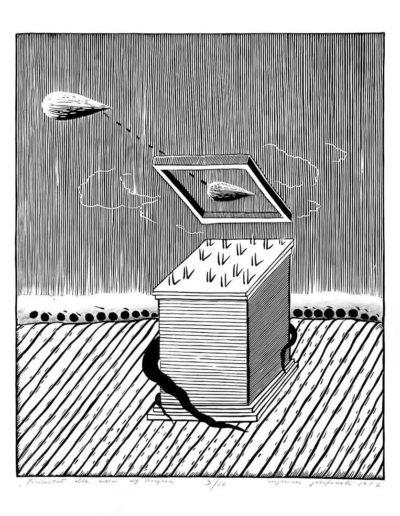 1981 Eugeniusz Józefowski, Piedestał dla węża według Borgesa, z cyklu IIustracje do nienapisanych książek, linoryt na bibule, 50 x 70 cm, 28