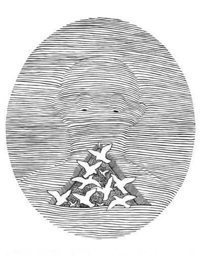 1981 Eugeniusz Józefowski, Ptasznik niemowa według Astafiewa z cyklu Ilustracje do nienapisanych książek, linoryt na bibule, 50 x 70 cm, 3