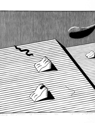 1981 Eugeniusz Józefowski, Schody bez pamięci według Themersona, z cyklu Iustracje do nienapisanych książek, linoryt na bibule, 50 x 70 cm, 27