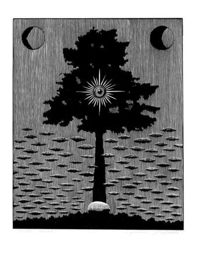 1983 Eugeniusz Józefowski, Święte drzewo, linoryt, 20,5 x 25 cm