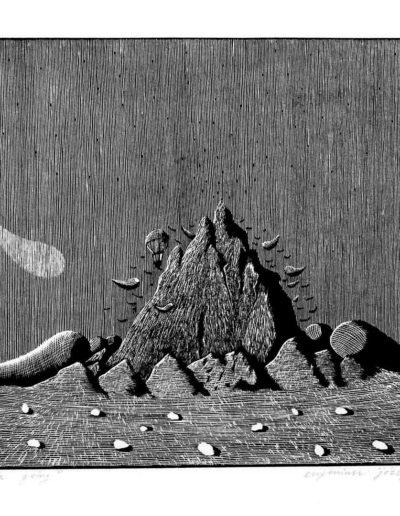 1983 Eugeniusz Józefowski, Adoracja Góry, linoryt, 25 x 20,5 cm