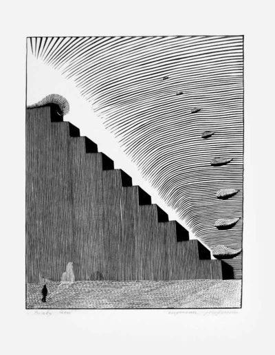 1983 Eugeniusz Józefowski, Biały cień, linoryt, 20,5 x 25 cm