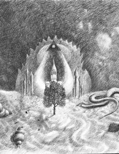 1983 Eugeniusz Józefowski, I tak drzewo w centrum, rysunek ołówkiem na papierze akwarelowym, 24 x 18 cm 05