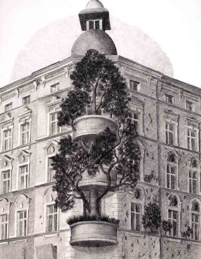 1983 Eugeniusz Józefowski, Kamienica przy Placu Staszica, rysunek grafitem na papierze, format 70 x 100 cm