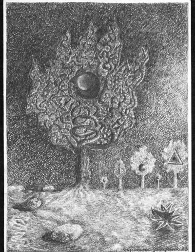 1983 Eugeniusz Józefowski, Księżycowe drzewo, rysunek ołówkiem na papierze akwarelowym, 18 x 24 cm 01