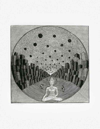 1983 Eugeniusz Józefowski, Medytacja, linoryt, 20,5 x 25 cm