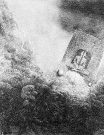 1983 Eugeniusz Józefowski, Medytacja nad sprawą przewaloną i przegraną, rysunek ołówkiem na papierze akwarelowym, 62 x 50 cm 08