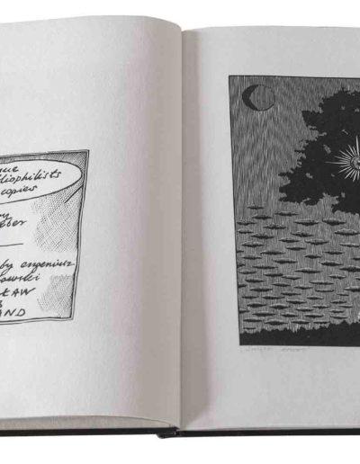 1983 Eugeniusz Józefowski, Milcząca książka, książka szyta po chińsku, linoryty odbite na bibule japońskiej, format 30,5 x 38,5 x 0,8 cm 02
