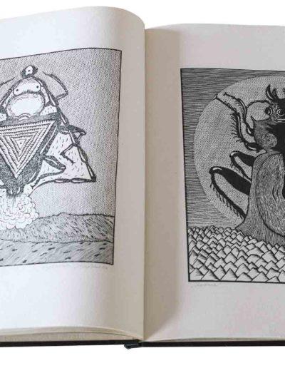 1983 Eugeniusz Józefowski, Milcząca książka, książka szyta po chińsku, linoryty odbite na bibule japońskiej, format 30,5 x 38,5 x 0,8 cm 04