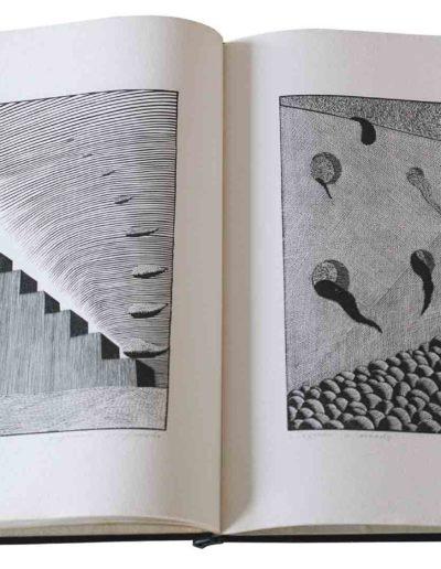 1983 Eugeniusz Józefowski, Milcząca książka, książka szyta po chińsku, linoryty odbite na bibule japońskiej, format 30,5 x 38,5 x 0,8 cm 05