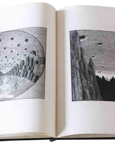 1983 Eugeniusz Józefowski, Milcząca książka, książka szyta po chińsku, linoryty odbite na bibule japońskiej, format 30,5 x 38,5 x 0,8 cm 06