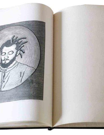 1983 Eugeniusz Józefowski, Milcząca książka, książka szyta po chińsku, linoryty odbite na bibule japońskiej, format 30,5 x 38,5 x 0,8 cm 07