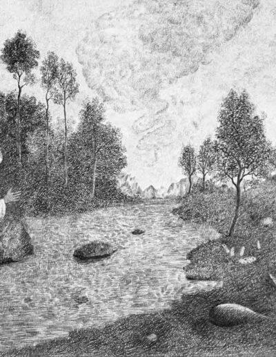 1983 Eugeniusz Józefowski, Opiekun rzeki, rysunek ołówkiem na papierze akwarelowym, 40 x 32 cm 02