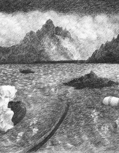 1983 Eugeniusz Józefowski, Pejzaż z miejsca wewnętrznego pobytu, rysunek ołówkiem na papierze akwarelowym, 27 x 20 cm15