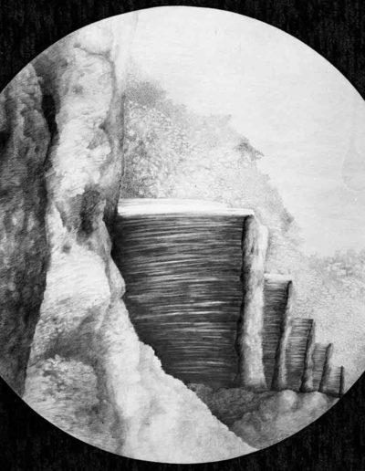 1983 Eugeniusz Józefowski, Pięć nierzeczywistych ekranów, rysunek ołówkiem na papierze akwarelowym, średnica 60 cm 09