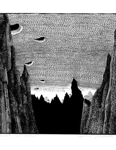 1983 Eugeniusz Józefowski, Przelot nad górami, linoryt, 20,5 x 20,5 cm