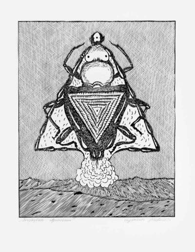 1983 Eugeniusz Józefowski, Trójkątne objawienie, linoryt, 20,5 x 25 cm