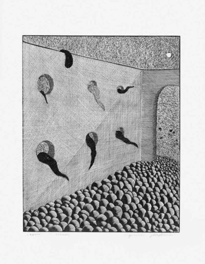1983 Eugeniusz Józefowski, Zagroda z arkadą, linoryt, 20,5 x 25 cm