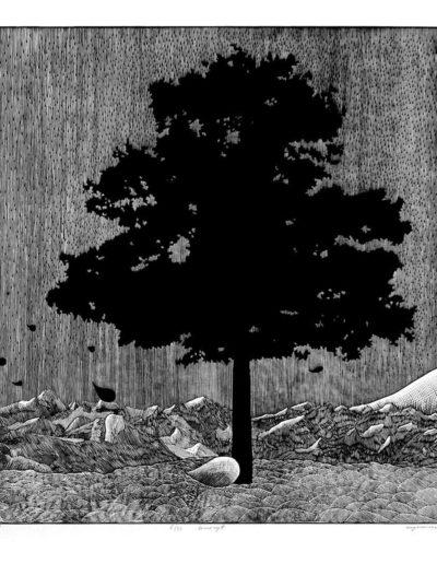1984 Eugeniusz Józefowski, Niebotyczne drzewo, linoryt, 80 x 60 cm