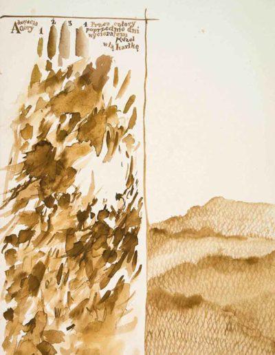1985 Eugeniusz Józefowski, Adoracja Góry dzień czwarty, akwarela na papierze, 19 x 28,5 cm