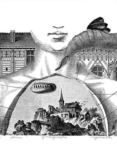1985 Eugeniusz Józefowski, Marzenie o domu, cynkografia, 16 x 23 cm