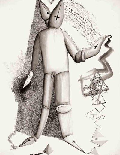 1986 Eugeniusz Józefowski, Kila gestów Wielkiego Rysownika, rysunek tuszem na papierze akwarelowym naklejonym na tekturę, 23,5 x 34,5 cm