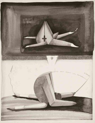 1986 Eugeniusz Józefowski, Klęcząc przy głowie czyli Karnapidasana, rysunek tuszem lawowanym na papierze akwarelowym, 23,5 x 34,5 cm 02