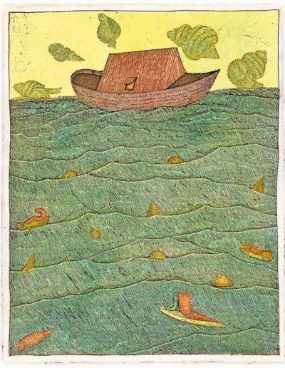 1987 Eugeniusz Józefowski, Arka obsesji morskich, 15 x 12 cm, intaglio