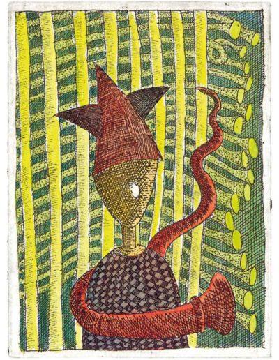 1987 Eugeniusz Józefowski, Człowiek w gwiaździstej czapce, 8 x 6 cm, intaglio