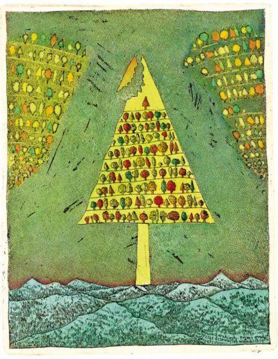 1987 Eugeniusz Józefowski, Drzewo drzew, 15 x 12 cm, intaglio