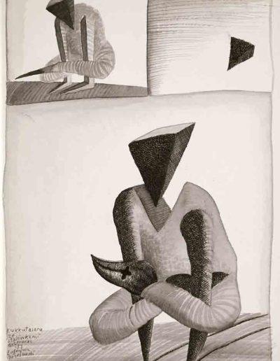 1987 Eugeniusz Józefowski, Kukkutasana ze stalówkami, rysunek tuszem lawowanym na papierze akwarelowym, 23,5 x 34,5 cm