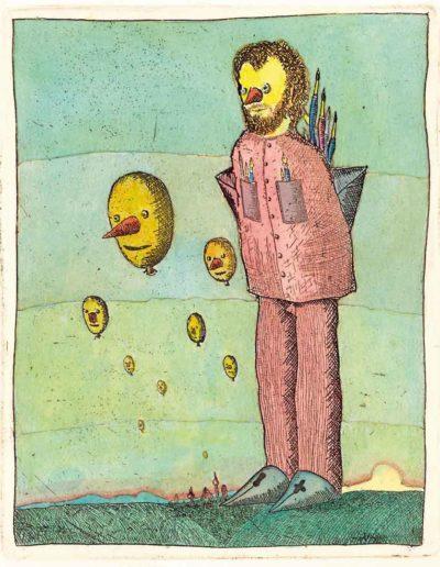 1987 Eugeniusz Józefowski, Moi najwierniejsi przyjaciele, 15 x 12 cm, intaglio