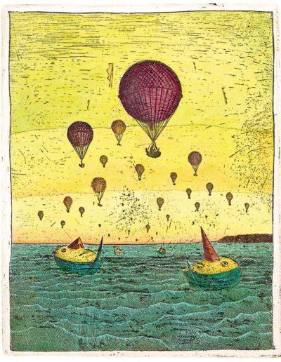 1987 Eugeniusz Józefowski, Morze balony i łodzie, 15 x 12 cm, intaglio