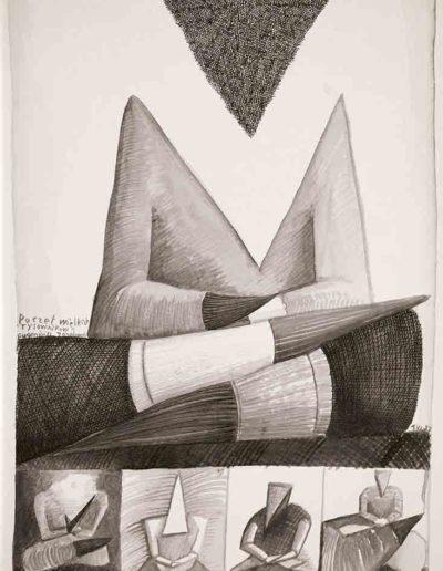 1987 Eugeniusz Józefowski, Poczet wielkich rysowników, rysunek tuszem lawowanym na papierze akwarelowym, 23,5 x 34,5 cm 04