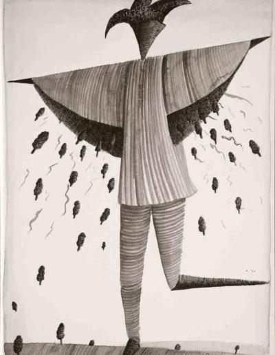 1987 Eugeniusz Józefowski, Rozdawca drzew, rysunek tuszem lawowanym na papierze akwarelowym, 23,5 x 34,5 cm 06