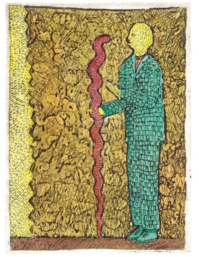 1987 Eugeniusz Józefowski, Rozmowa z wężem, 8 x 6 cm, intaglio